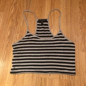 3/$30 black and grey Striped tank top size medium